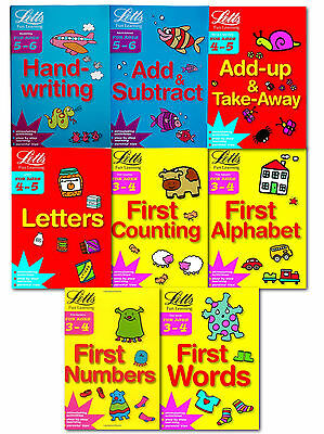 Childrens Letts Fun Learning 8 Books Collection Set 3-6 Years Alphabet, Number