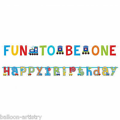 2 Piece All Aboard Blue Boy's Happy 1st Birthday Party Banner Decoration Set