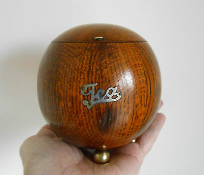 VINTAGE VERY ATTRACTIVE ROUND GLOBE SHAPE OAK TEA CADDY WITH HINGED LID