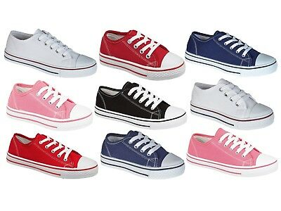 Boys Girls Flat Lace Up Canvas Pumps Plimsoles Casual Trainers Womens Kids Size