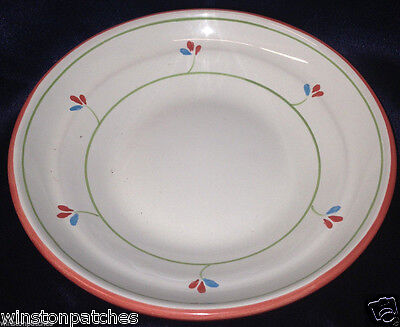 "Noemi Ceramiche Italy Nei9 8"" Coupe Soup Bowl Red & Blue Flowers Red Trim"