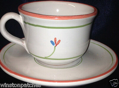 Noemi Ceramiche Italy Nei9 Cup & Saucer 8 Oz Red & Blue Flowers Red Trim