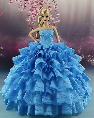 Blue Fashion Princess Party Dress Wedding Clothes Gown For Barbie Doll 01B6P