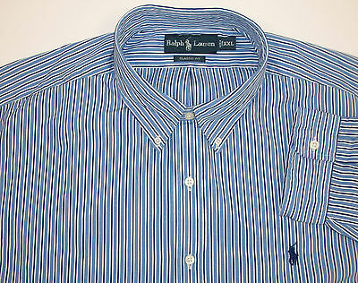 Polo Ralph Lauren Classic Fit Woven Striped LS Shirt Blue White $89-95  Pony NWT