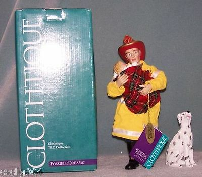 SAVE THE DAY FIREMAN FIGURINE WITH DALMATION AND CHILD  911 COMMEMORATIVE