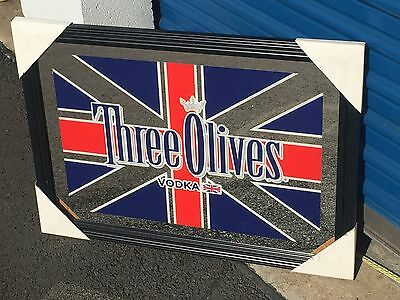 THREE OLIVES VODKA BRITISH FLAG PUB BAR MIRROR SIGN BRAND NEW