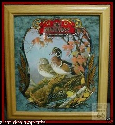 WOOD DUCK HUNTING OLD MILWAUKEE BEER WILDLIFE MIRROR NEW OAK FRAME RARE