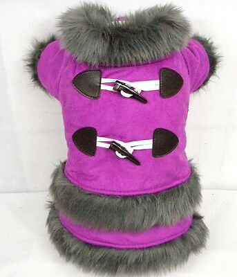 Good Dog Puppy Pet Clothes Apparel Fur Purple Dress For Small Girl Dog Size S