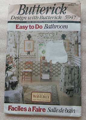 Easy to Do Bathroom Accessoriers Pattern Butterick #5947 Uncut  dated 1992