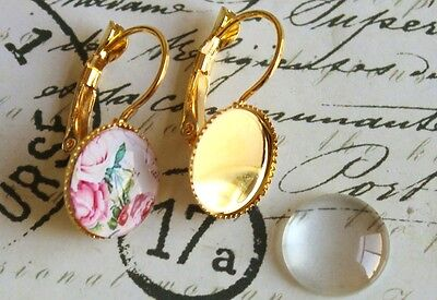Earring bezel blanks gold plated 12mm with glass cabochons french earring diy ki