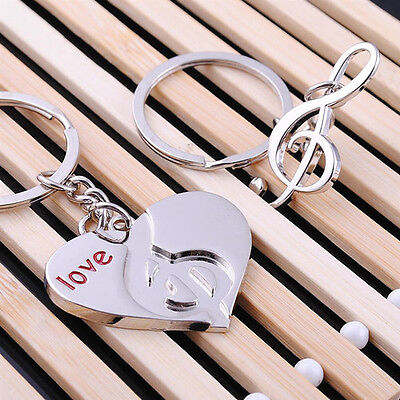 Hot 1 pair Sweet Love Heart Music Key Ring Couples Romantic Keychain Gift new