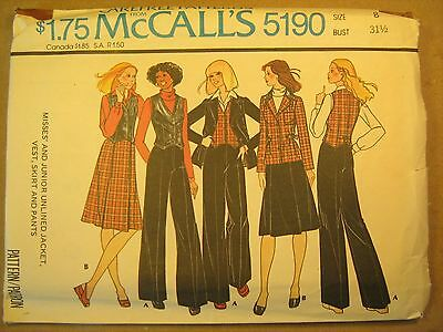 McCALL/'S #5659-LADIES LONG FLARED COCKTAIL JACKET-TANK TOP-SKIRT PATTERN  8 FF