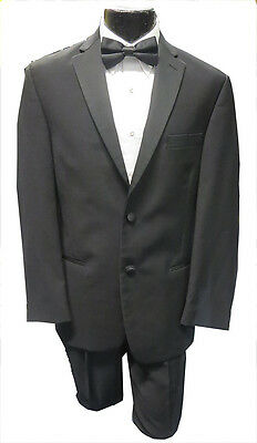 44R Black Ralph Lauren 2 Button Notch Prom Formal Tuxedo Package Jacket Pants
