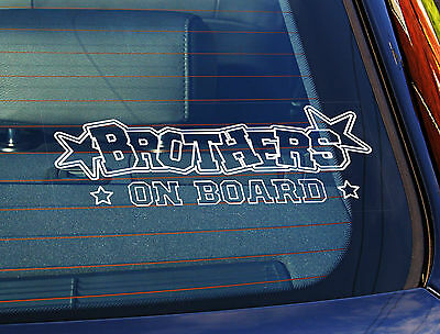 Static Cling Window Car Sign/Decal Brothers On Board Text Stars