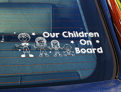 Static Cling Window Car Sign/Decal Our Children On Board Car Decal Static 4 Kids