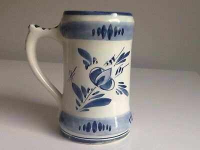 """Vintage D.P. Delft Blue Holland Small 5""""  Hand Painted Stein Mug"""