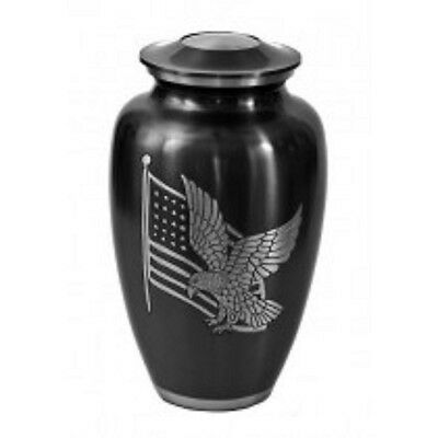 American Flag Adult Funeral Cremation Urn For Ashes, 210 Cubic Inches