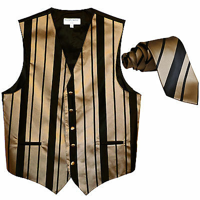 New formal men's tuxedo vest waistcoat & necktie vertical stripes black mocca