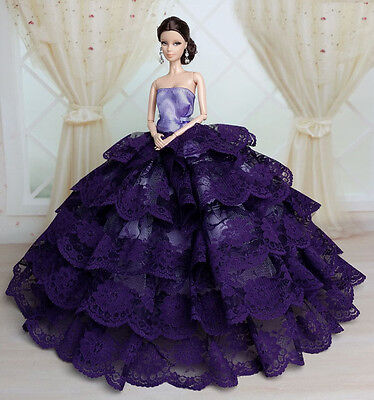 Purple Fashion Royalty Princess Party Dress/Clothes/Gown For Barbie Doll S173