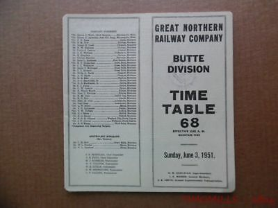 1951 Great Northern Railway Employee Timetable 68 Butte Division Vintage GNR ETT