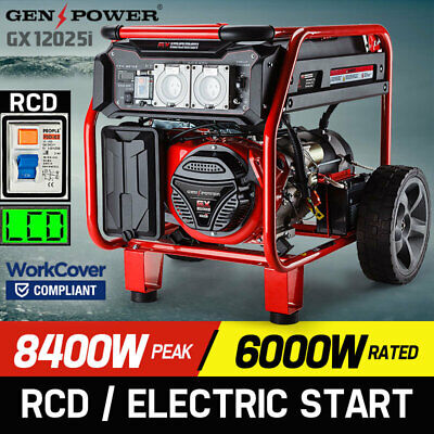 NEW GENPOWER 8.4kVA Max 6kVA Rated Generator Single-Phase Petrol - Portable RCD