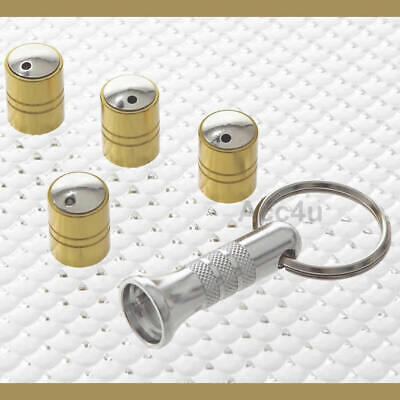 Richbrook Spinning Gold Car Anti Theft Valve Dust Caps Set Of 4 + Free