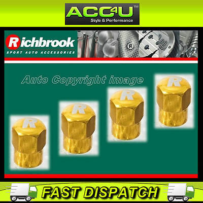 Richbrook Gold R Logo Car Bike Valve Dust Caps Set Of 4