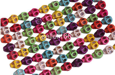 100 Pcs Mixed Color Turquoise Skull Head Howlite Spacer Loose Beads Charms 8mm