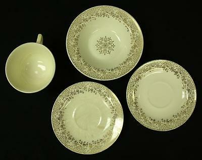 Lot of 4 Edwim M Knowles Gold Star Flower Pattern Cup 2 Saucers Bowl 41-1