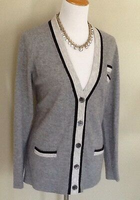 J. Crew Gray Contrast Cardigan Sweater, Women's Size Large, Cashmere Blend, Long