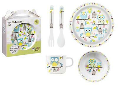 Child's OWLS Melamine Plate Set, Plate, Bowl, Cup, Spoon, Fork, by Ganz