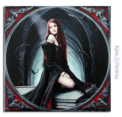 "Anne Stokes Small Art Tile: ""Await the Night"" Gothic Vampire on Coffin"