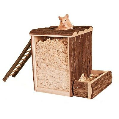 Trixie Natural Wood Play & Burrowing  Tower Hamster Gerbil Mice Cage Toy 62001