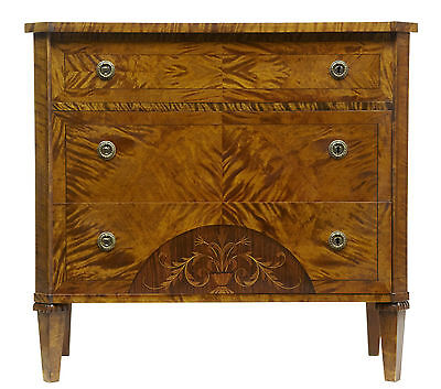 19Th Century Inlaid Birch Chest Of Drawers Commode