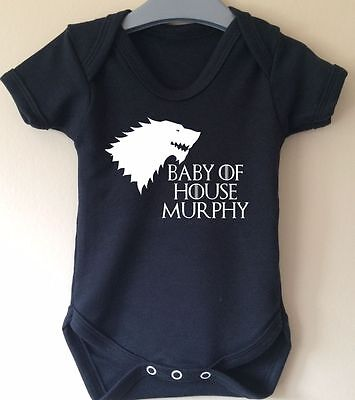 House Stark Personalised With Family Name Baby Body Grow Vest Game Of Thrones