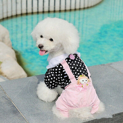 Pet small dog cat jumpsuit puppy dog polka dot shirt overalls clothing apparel S