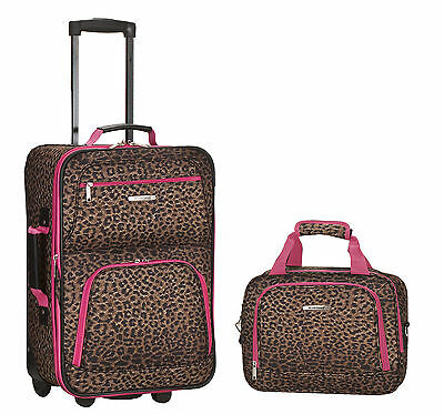 Rockland 2 Piece Carry On Luggage Set Pink Leopard