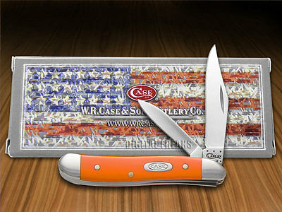CASE XX Smooth Orange Delrin Peanut Stainless Pocket Knife Knives
