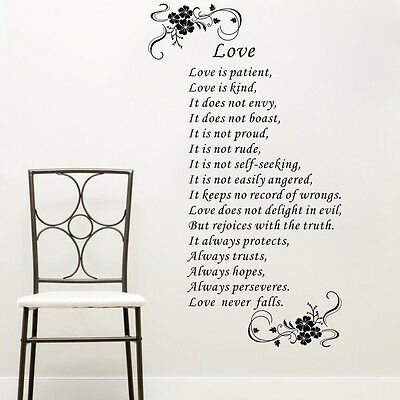 Love is Patient Corinthians 13 Bible Wall Decals Vinyl Sticker Quote Decor Art