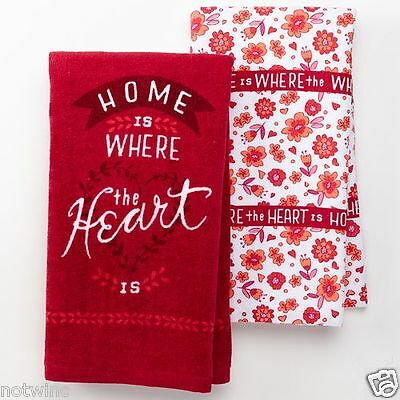 2 Pc Set Happy Valentine's Day Holiday Kitchen Towels Home is Where the Heart is