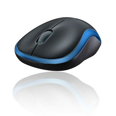 LOGITECH MAUS M185 WIRELESS FUNK MOUSE BLAU GRAU 2,4GHz USB ADAPTER inc.BATTERIE