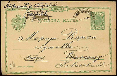 Serbia 1900, 5p Green Stationery Card Used #C14417
