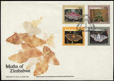 Zimbabwe 1986 Moths FDC First Day Cover #C14289