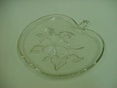 Vintage Apple Shaped Floral Clear Tray Dish