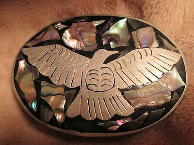 OLD Hand Made MAKER MARKED Eagle THUNDERBIRD Inlaid Belt Buckle MAKE OFFER