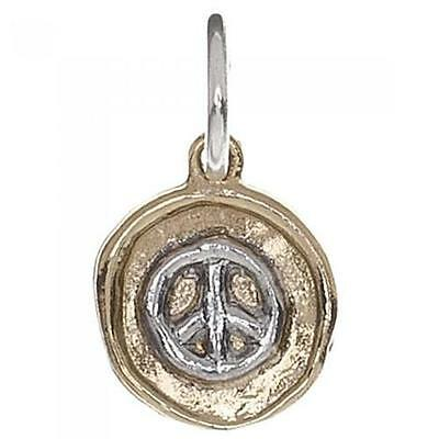 Waxing Poetic Sterling Silver & Brass Peace Sign Charm M750 Jewelry