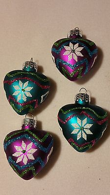 "NEW 1 1/2"" PUFFED HEART ORNAMENTS SET of 4 GLASS blue / purple glittered hanging"