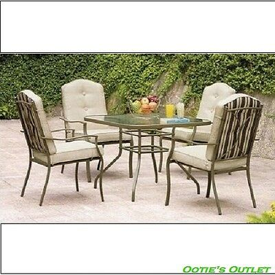 5 Piece Patio Dining Table and Chairs Set Outdoor Backyard Furniture All Weather