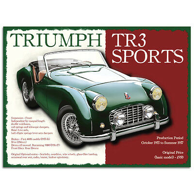 Triumph TR3 Sports Metal Sign British Sports Car Garage Wall Decor 12x16