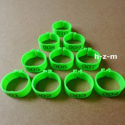( Green )001-100 Numbered Chicken Leg Bands 18mm Chicken Rings